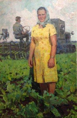 """Portrait of the Hero of Socialist Labor-link Buryakovo"" 1950 е - Ryabokon Fedor Evdokimovich"