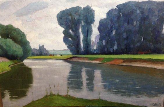 """Landscape """"On the River"""" 1970  - Sobko Petr Stepanovich"""