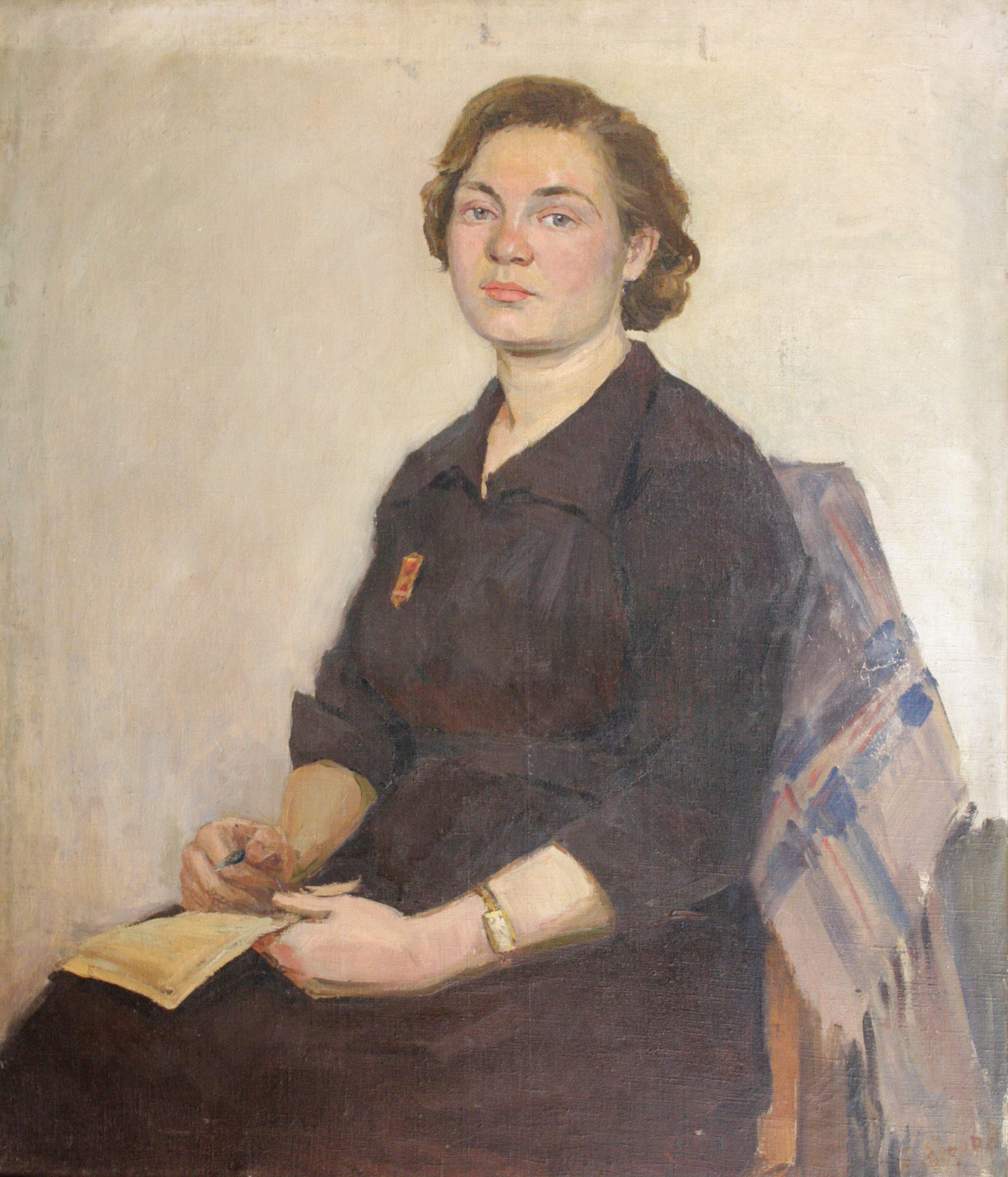 "Portrait ""Druzhinnitsa"" 1952 - Yegorov Boris Kuzmich"