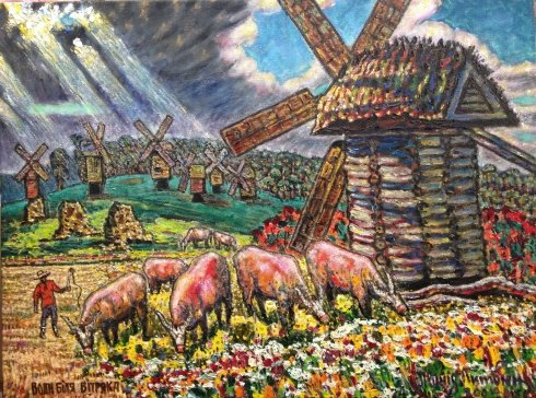 """The oxen near the mill"" 1978-2004 - Lytvyn Leonid Grigorievich"