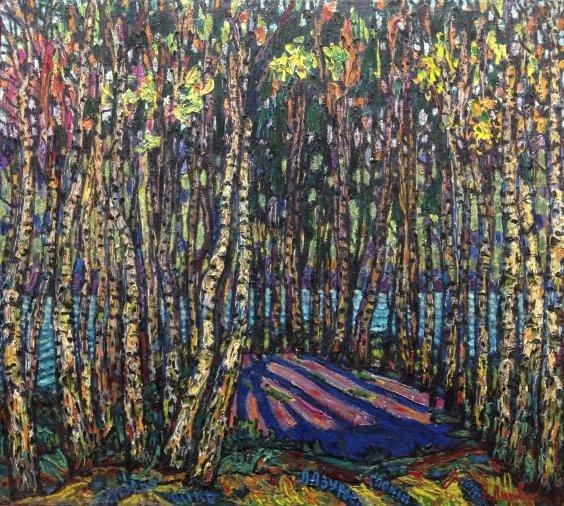 Пейзаж «Березовая Осень. Лазурный покой»-Литвин Леонид Григорьевич