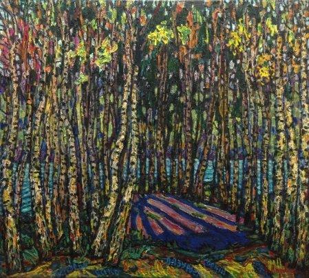 Пейзаж «Березовая Осень. Лазурный покой» 1983 - Литвин Леонид Григорьевич