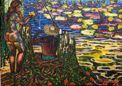 """On the Dnieper-Kupala, Kiev, Trukhanov Island"" 1992 - Lytvyn Leonid Grigorievich"