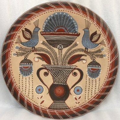 ЛКСФ Декоративная тарелка натюрморт «Вазон с птицами» 1970 е - ЛКСФ Декоративная тарелка натюрморт «Вазон с птицами»