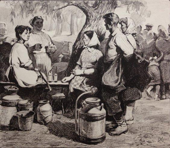 """Milkmaids, Noon on the farm"" 1962 - Andriychuk Mikhail Yemelyanovich"