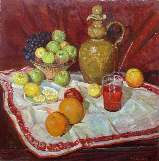 """Still life with a clay jug"" 1982 - Карева Людмила Ивановна"