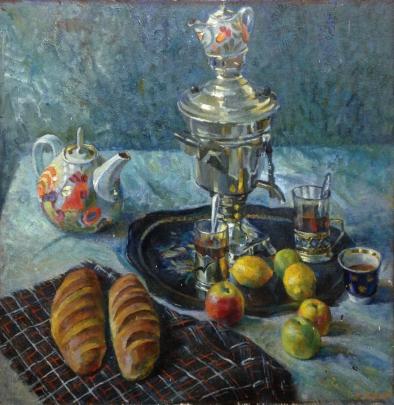 «Натюрморт с самоваром и Хлебами» 1970 е - Маклок Виктор Иванович