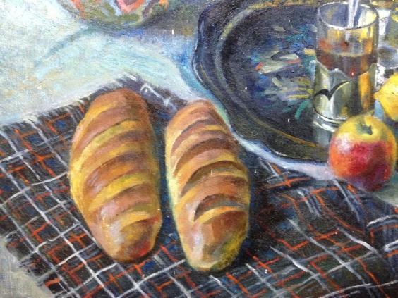 «Натюрморт с самоваром и Хлебами»-Маклок Виктор Иванович