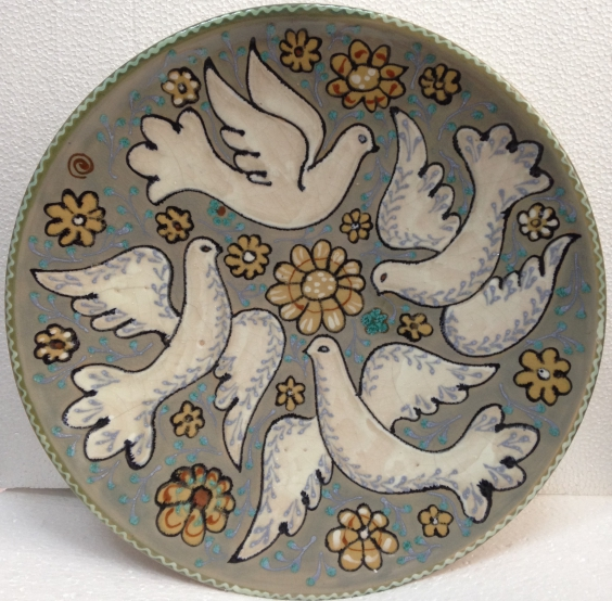 Декоративная тарелка «Голуби» ЛКСФ 1970 е - Декоративная тарелка «Голуби» ЛКСФ