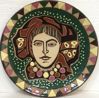 ЛКСФ Декоративная тарелка «Дева», авторская 1960 е - ЛКСФ Декоративная тарелка «Дева», авторская