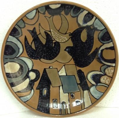 ЛКСФ Декоративная тарелка «Голуби над городом» 1970 е - ЛКСФ Декоративная тарелка «Голуби над городом»