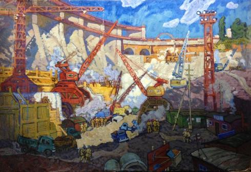 «На строительстве Днепро-ГЭСа» 1960 е - Чуйков Евгений Васильевич