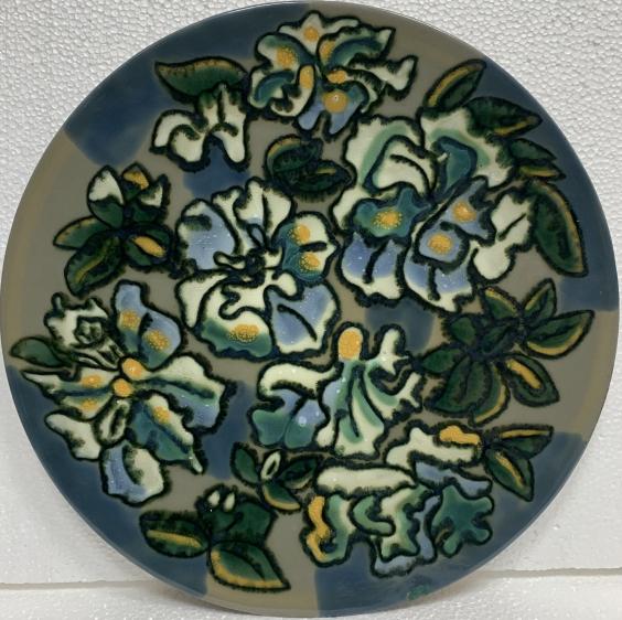 Декоративная тарелка «Цветы» ЛКСФ 1960 е - Декоративная тарелка «Цветы» ЛКСФ