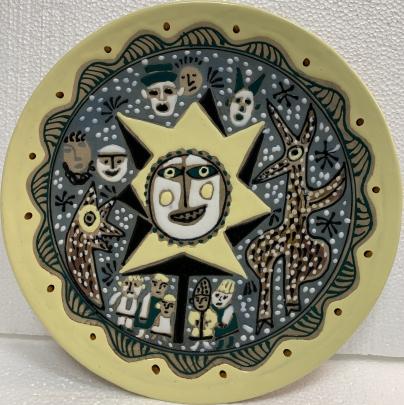 Декоративная тарелка «Колядки» ЛКСФ 1960 е - Декоративная тарелка «Колядки» ЛКСФ
