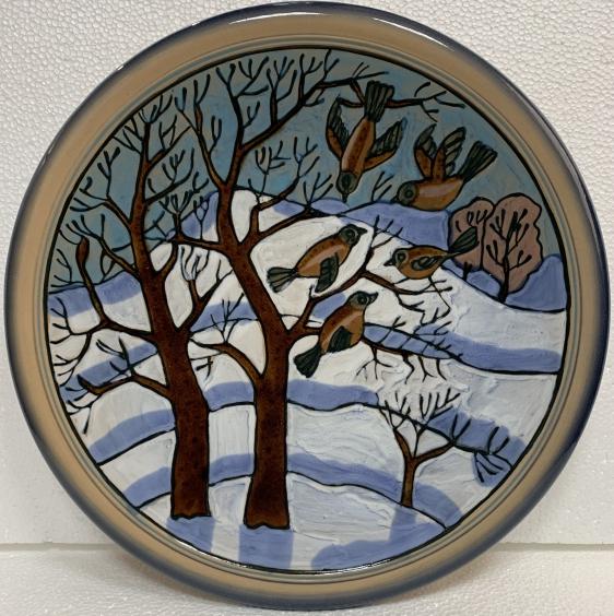 Декоративная тарелка «Снегири» ЛКСФ, авторская 1960 е - Береза Зиновий