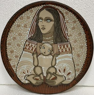 Декоративная тарелка «Материнство. Украинская Мадонна» ЛКСФ, авторская 1960 е - Курочка Мария Ефимовна