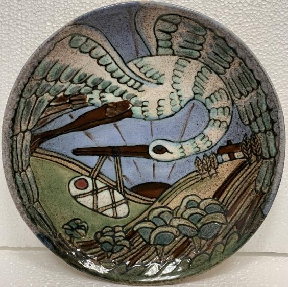 Декоративная тарелка «Аист» ЛКСФ 1960 е - Декоративная тарелка «Аист» ЛКСФ