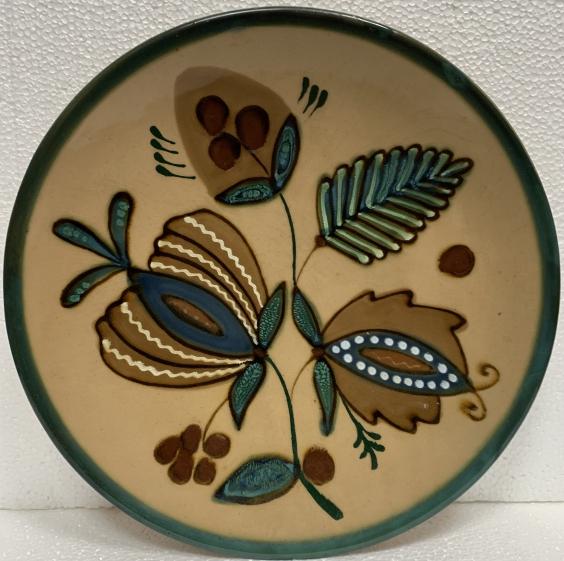 Декоративная тарелка «Цветы» ЛКСФ 1970 - Декоративная тарелка «Цветы» ЛКСФ