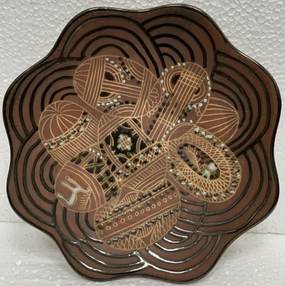 Декоративная тарелка «Пасхальные яйца» ЛКСФ, авторская 1960 е - Курочка Мария Ефимовна