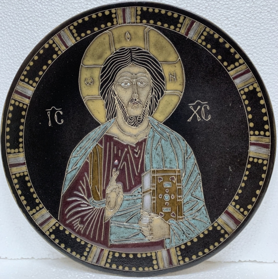 Декоративная тарелка, стилизованная под икону «Иисус Христос-Спаситель» ЛКСФ 1980 е - Декоративная тарелка, стилизованная под икону «Иисус Христос-Спаситель» ЛКСФ