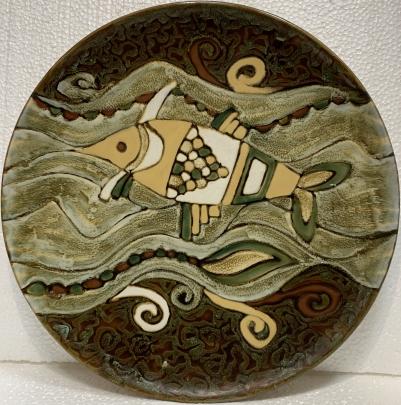 Декоративная тарелка «Декоративная рыба» ЛКСФ 1970 е - Декоративная тарелка «Декоративная рыба» ЛКСФ