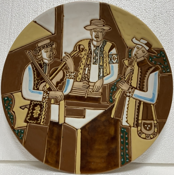 Декоративная тарелка «Музыканты» ЛКСФ, авторская 1970 е - Декоративная тарелка «Музыканты» ЛКСФ, авторская