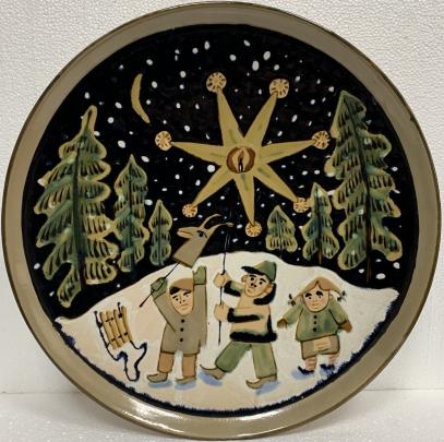 Декоративная тарелка «Колядки» ЛКСФ, авторская 1960 е - Декоративная тарелка «Колядки» ЛКСФ, авторская