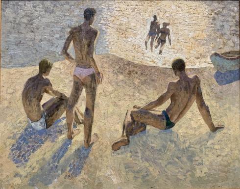 Пейзаж «На пляже» 1970 е - Столяренко Петр Кузьмич