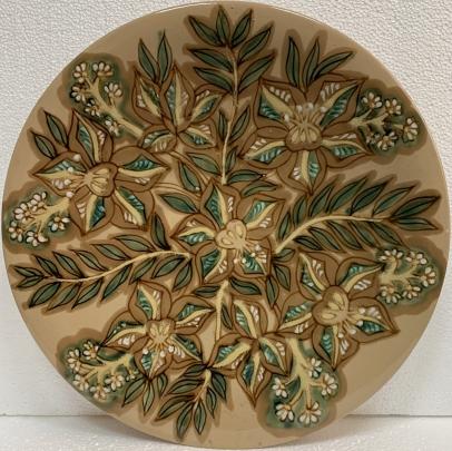 Декоративная тарелка «Цветочный узор» ЛКСФ, авторская 1970 е - Декоративная тарелка «Цветочный узор» ЛКСФ, авторская