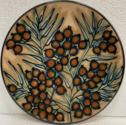Декоративная тарелка «Рябина» ЛКСФ, авторская 1970 е - Декоративная тарелка «Рябина» ЛКСФ, авторская