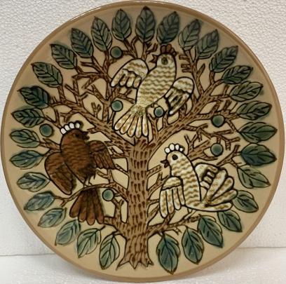 ЛКСФ Декоративная тарелка «Птицы на дереве», авторская 1970 е - ЛКСФ Декоративная тарелка «Птицы на дереве», авторская