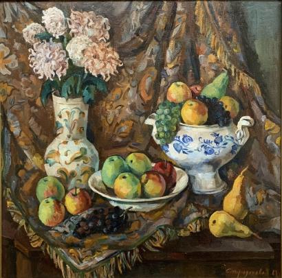 «Натюрморт «Цветы и фрукты» 1981 - Спиридонова Валерия Николаевна
