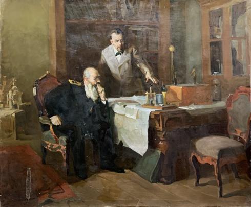 «Попов демонстрирует адмиралу Макарову свою радиоустановку» 1950 е - «Попов демонстрирует адмиралу Макарову свою радиоустановку»
