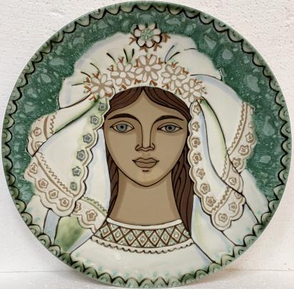 Декоративная тарелка «Невеста» ЛКСФ 1970 е - Декоративная тарелка «Невеста» ЛКСФ