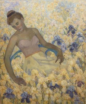 «Девушка в желтых Ирисах» 1980 е - Титаренко Дарья Анатольевна