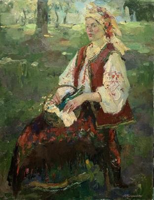 «Украинка с корзиной. Портрет Ирины» 1990 - Титаренко Мария Анатольевна
