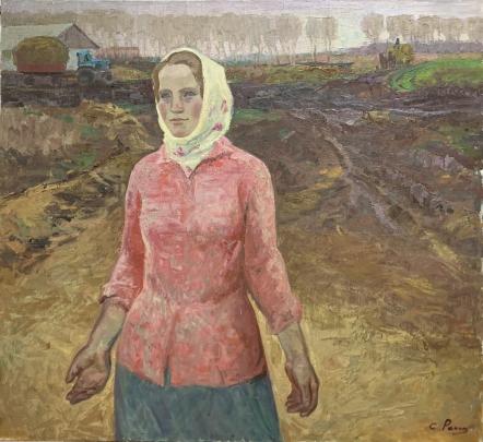 «Портрет доярки совхоза им. Ленина» 1970 е - Репка Сергей Никанорович