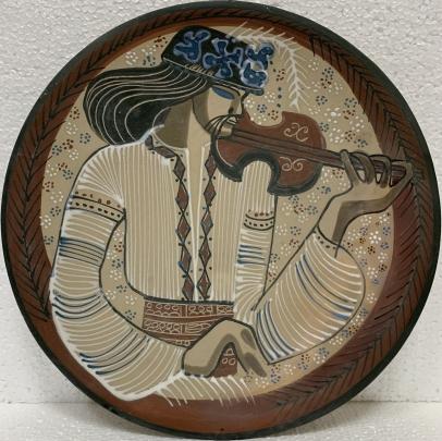 Декоративная тарелка «Музыкант» ЛКСФ 1960 е - Декоративная тарелка «Музыкант» ЛКСФ