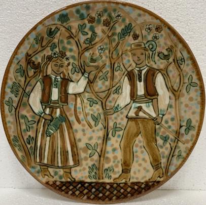 Декоративная тарелка «В саду» ЛКСФ 1960 е - Декоративная тарелка «В саду» ЛКСФ