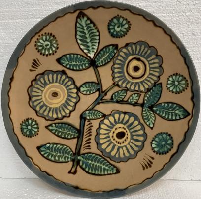 Декоративная тарелка «Цветы» ЛКСФ 1970 е - Декоративная тарелка «Цветы» ЛКСФ