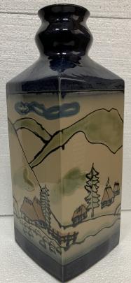 Декоративная ваза «Село в горах» ЛЭКСФ 1960 е - Декоративная ваза «Село в горах» ЛЭКСФ