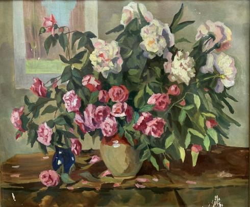 Натюрморт «Розы и Пионы» 1972 - Шевченко Иван Николаевич