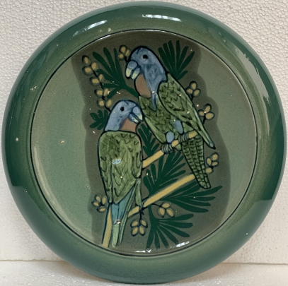 Декоративная тарелка «Попугаи» ЛКСФ 1970 е - Декоративная тарелка «Попугаи» ЛКСФ