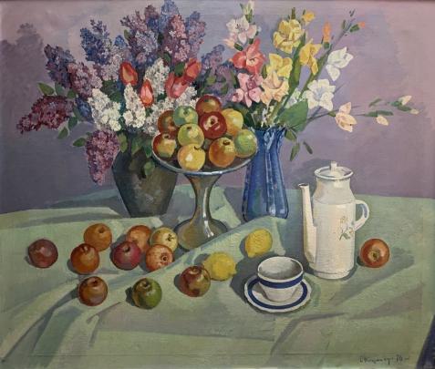 Натюрморт «Сирень и яблоки» 1976 - Баумейстер Олег Викторович