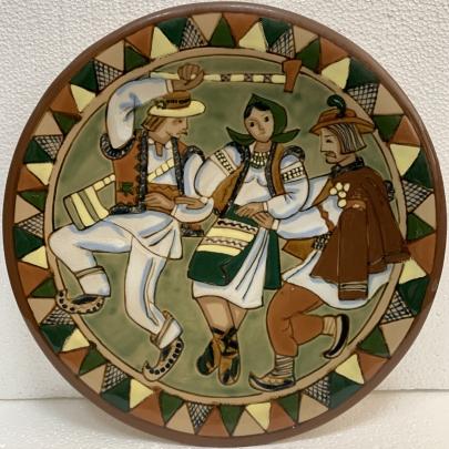 Декоративная тарелка «Гуцульский танец» ЛКСФ 1970 е - Декоративная тарелка «Гуцульский танец» ЛКСФ