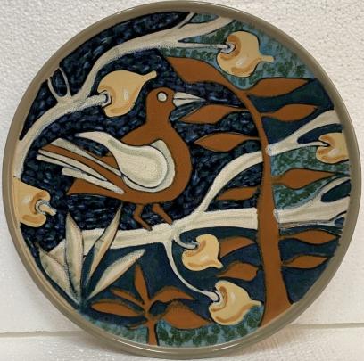 Декоративная тарелка «Птица на ветке» ЛКСФ 1960 е - Декоративная тарелка «Птица на ветке» ЛКСФ