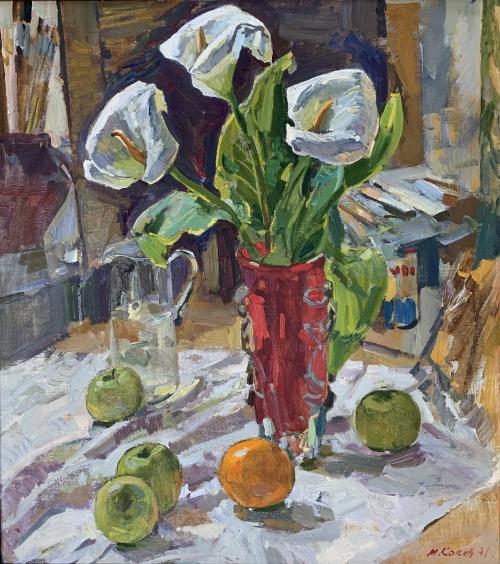 «Натюрморт с яблоками» 1991 - Кокин Михаил Александрович